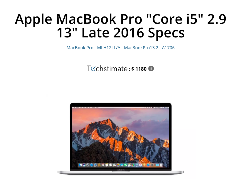 Techstimate Value of Macbook Pro