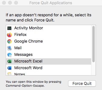 Dialog box of Force Quit Application