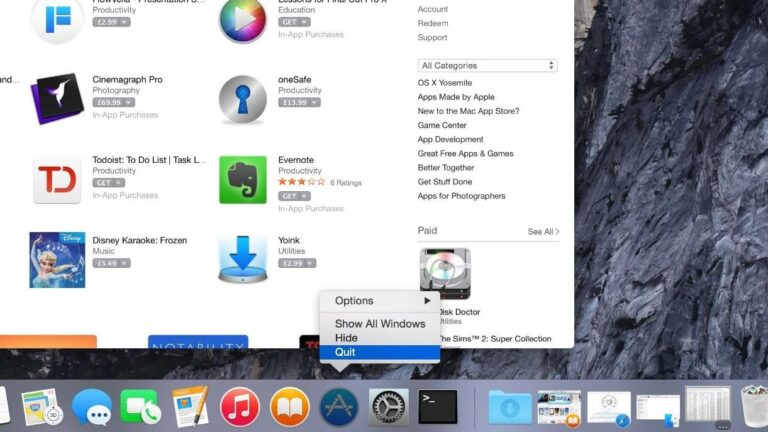 Force Quitting Apps via the Dock