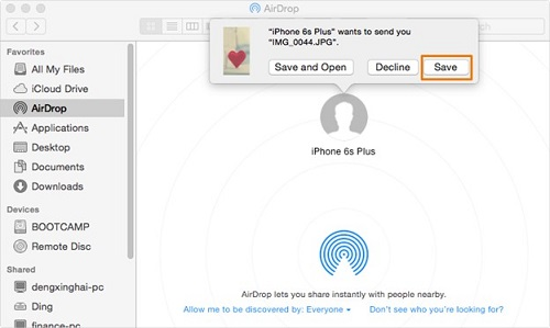 Move photos via Airdrop