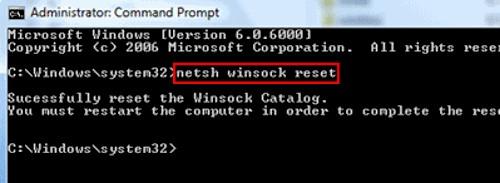 Netsh Winsock reset via command prompt