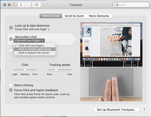 By Tapping the Corner of the Trackpad