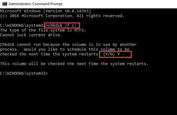 disk scan via command prompt