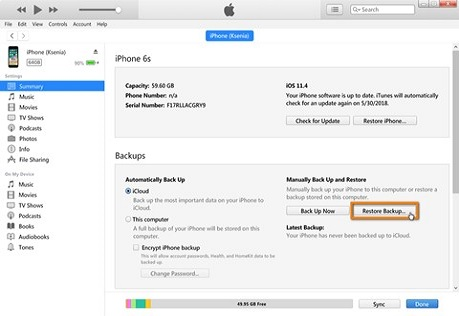 Recover Deleted Text Messages on the iPhone with iTunes for Pc and Older version of macOS