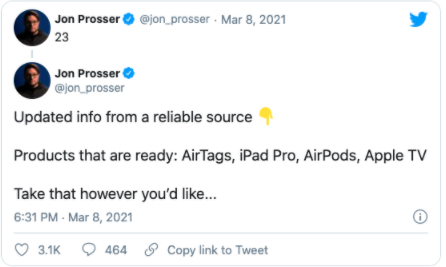 Jon Proseer's tweet about what's coming from Apple